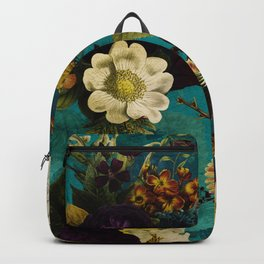 Before Midnight Blue Hour Vintage Fall Flowers Garden Backpack