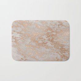 Rose Gold Copper Glitter Metal Foil Style Marble Bath Mat