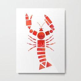 Geometric Lobster Metal Print