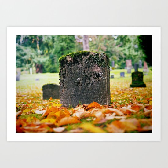 Graveyard Autumn Art Print