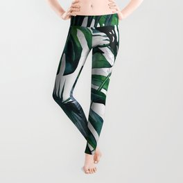 Tropical Palm Leaves Classic on Marble Leggings