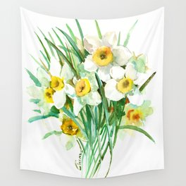 White Daffodils, spring flowers yellow green spring floral design Wall Tapestry