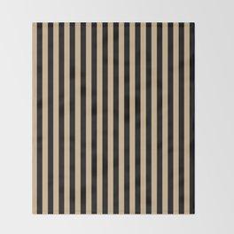 Tan Brown and Black Vertical Stripes Throw Blanket
