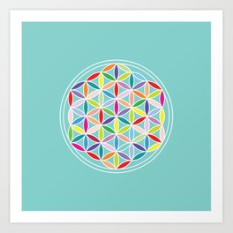 Flower of Life – Multicoloured on Blue Art Print