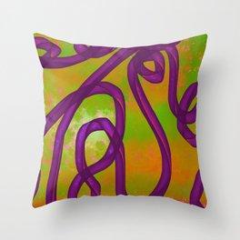 """Galactic Ribbon"" (Purple/Orange/Lime) Digital Painting // Fine Art Print Throw Pillow"