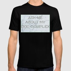 Ask Me About My God Complex Black MEDIUM Mens Fitted Tee