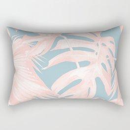 Island Love Millennial Pink on Pale Teal Blue Rectangular Pillow