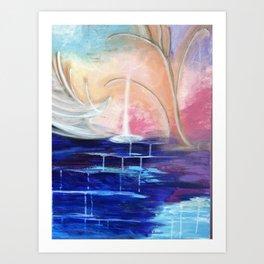 Flourescent Waterfall Painting. Waterfall, Abstract, Blue, Pink. Water. Jodilynpaintings. Art Print