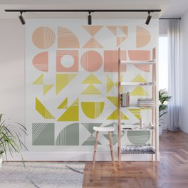 Organic Abstract Shapes in Soft Pastel Colors Wall Mural