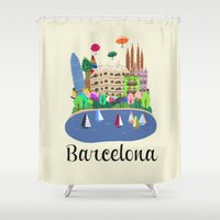 barcelona Shower Curtains featuring Barcelona  by uzualsunday
