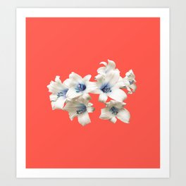 Blue Heart Lilies on Living Coral Art Print