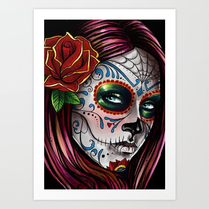 Mexican Skull Girl Art Print By Leonardopaciarotti Society6