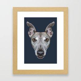 Whippet // Navy (Vespa) Framed Art Print