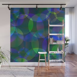 Abstract soap made of cosmic transparent blue circles and green bubbles on a languid background. Wall Mural