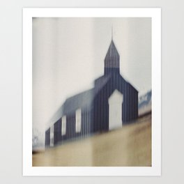 Búðakirkja. Black Church at Budir, Iceland. (In camera manipulation). Art Print