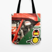 ducati Tote Bags featuring Ducati Motor by Internal Combustion