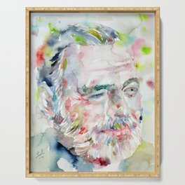 ERNEST HEMINGWAY  - watercolor portrait Serving Tray