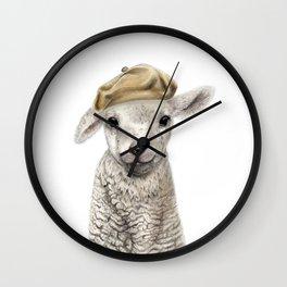Cute Lamb wearing a Beret Wall Clock