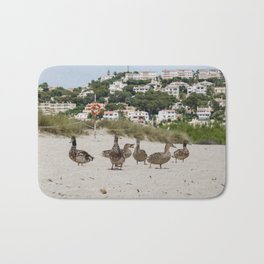 Ducks in one of the biggest and tourist beaches of Menorca, Son bou. Bath Mat