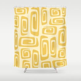 Mid Century Modern Cosmic Abstract 515 Yellow On Yellow Shower Curtain