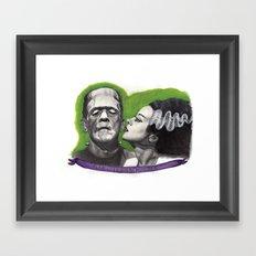 Watercolor Painting of Frankenstein & Bride Framed Art Print