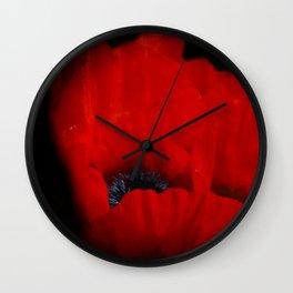 poppy love on black Wall Clock