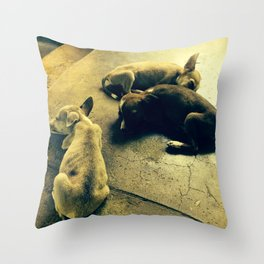 Puppies in a temple Throw Pillow