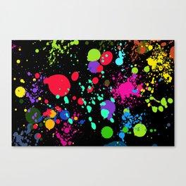 Paint Splatters on Black Canvas Print