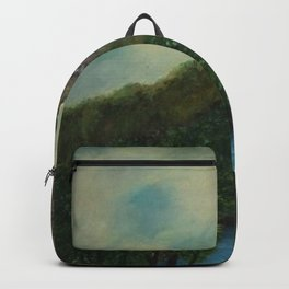 Old Man in the Mountain, Franconia Notch, White Mountains New Hampshire landscape painting Backpack