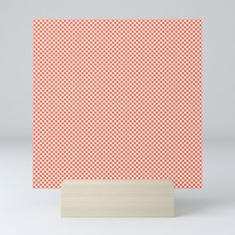 Small Living Coral Color of the Year in Coral Orange and White Checkerboard Mini Art Print