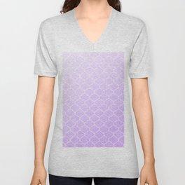 Purple Lattice Pattern Unisex V-Neck