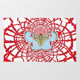 ARTISTIC RED-WHITE BUTTERFLY DREAM CATCHER WEB Rug