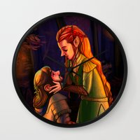 kili Wall Clocks featuring Tauriel and Kili 3 by Hattie Hedgehog