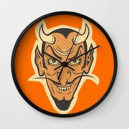 Retro Creepy Halloween Devil Mask Face Wall Clock