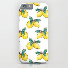 Pair of Lemons with Blossom - digital flash illustration iPhone Case