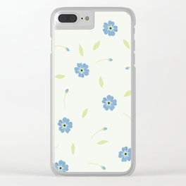 Forget me not pattern Clear iPhone Case