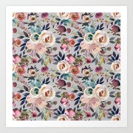 Blush Pink Peonies with Gray Art Print