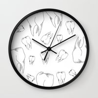 tooth Wall Clocks featuring Tooth by Mafe Oropeza