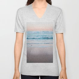 Blue orange beach Unisex V-Neck