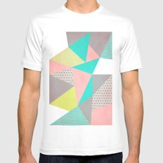 Geometric Pastel MEDIUM Mens Fitted Tee White