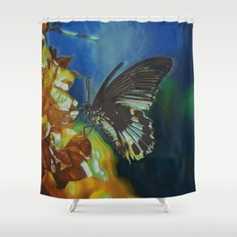 Black And White Butterfly On Red Flower II Shower Curtain