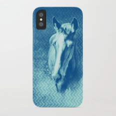 Horse emerging from the blue mist iPhone X Slim Case
