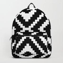 Monochrome Ikat Diamond Pattern Backpack