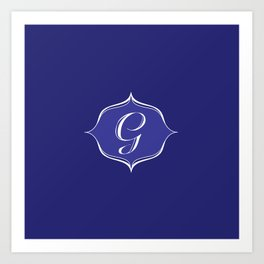 G Monogram Royal Blue Art Print