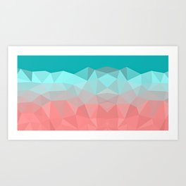 Crystal fantasy background mint and coral color Art Print