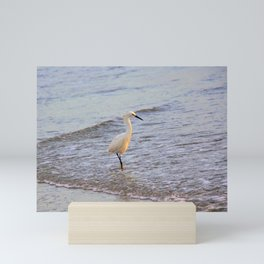 Common Egret Enjoying the Surf at the Beach by Reay of Light Mini Art Print
