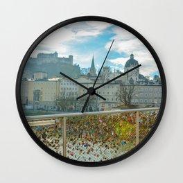 Lock Bridge Salzburg Castle Austria Wall Clock