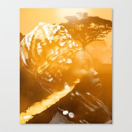 African portrait yellow Canvas Print