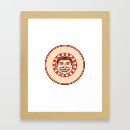 Grinning Funny Face Mascot Circle Retro Framed Art Print