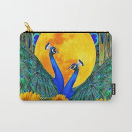 BLUE PEACOCKS MOON & FLOWERS FANTASY ART Carry-All Pouch